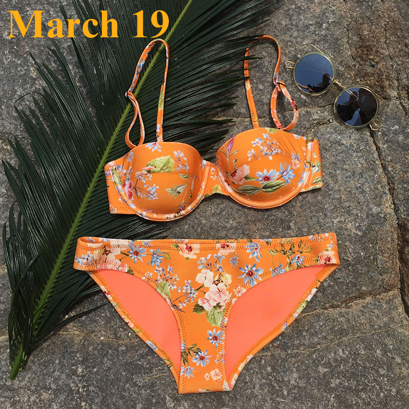 2017 Push Up Neoprene Bikini Underwire Swimwear Women Floral Swimsuit Bathing Suit Beach Wear Brazilian Maillot De Bain Biquin<br>