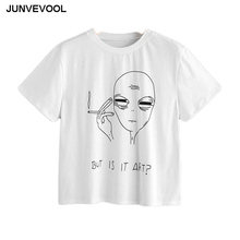 Brief Alien T-Shirt Women Summer Tees Hot Sale Tops Harajuku BUT IS IT ART? Tee shirt Ladies Robe White Tees Top Casual T shirts(China)