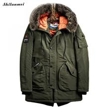 Military Army Green Jacket Parka Men 2017 Hooded Large Size Jacket Natural Fur Collar Coat Parkas Winter Mens Overcoat