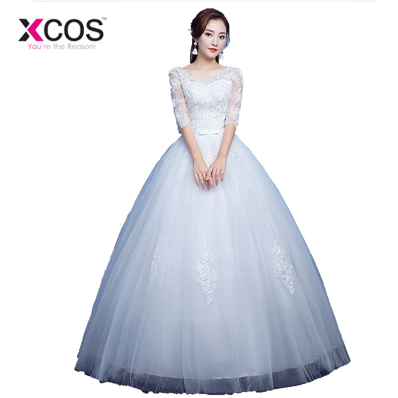 XCOS Custom Made White Ball Gown Wedding Dresses 2018 Appliques Beads Lace Bridal Gowns with Bow Vestido De Novias