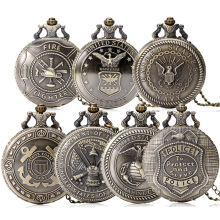 2017 Hot United States Army Navy Airforce Marine Corps Coast Guard Police Firefighter Full Hunter Pocket Watch Necklace Chain