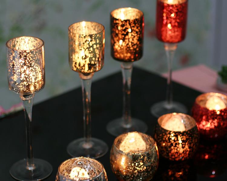 Hot Sell Mosaic Glass Candlestick Romantic Wedding Gauges European Candlestick Ktv Bar Creative Fashion Simple Home Decoration 5