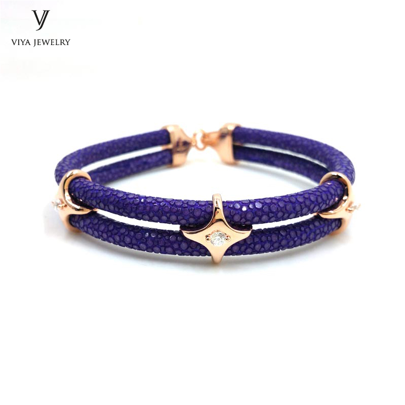 luxury-sterling-silver-star-beads-leather-bracelet-stingray-leather-bracelet-(31)