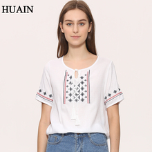 Vintage Embroidery Blouse Shirt Women Ethnic Style Linen White Blouse Summer 2017 New Bohemian Pattern Shirt Short Sleeve Female