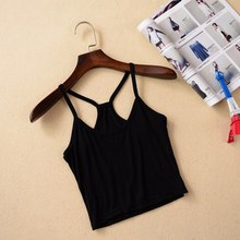 2017 Summer Style Sexy Women's Strap Tanks Crop Tops Modal Sleeveless Short Y Camisole Halter Top White/Black Camis Vest