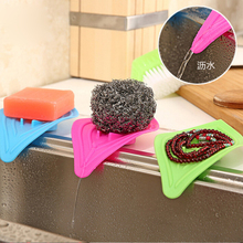 1pcs Anti-slip kitchen organizer drain sink cleaning sponge soap box rack shelf storage rangement cuisine  drainer