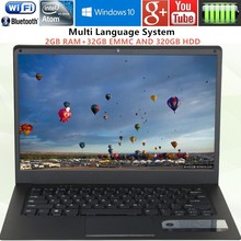 14.1 inch 1366x768P Ultrabook Computer Intel Atom X5-Z8350 2GB RAM 32GB EMMC+320G HDD Windows10 Ultra slim Laptop with WIFI HDMI