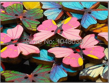 50pcs/Lot Colroful 2 Holes Mixed Butterfly Wooden Buttons Sewing Scrapbooking DIY