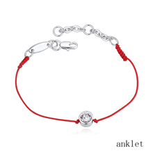 Fashion Ladies Round Beads Anklet Gold Color Plated Crystal Anklet Red String Foot Jewelry For Women Anklets Bracelet on the Log