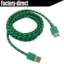 High speed USB 2.0 extension cable 10ft 3M with nylon mesh(copper conductor+Foiling+AL braiding)