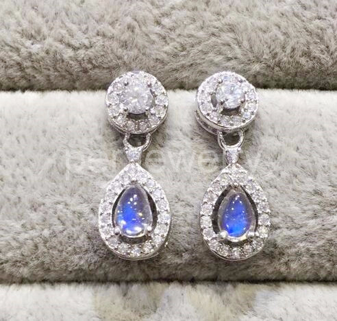 Blue moonstone drop earring Free shipping Nature real moonstone Fine jewelry 0.45ct*2pcs gemstone #TF18100202