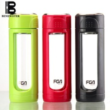 320ml Creative Portable Heat Resistant Plastic Glass Double Wall Water Glass Bottle with Stainless Steel Tea Infuser Filter