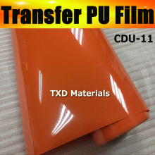 Best quality transfer PU vinyl for cutter plotter machine, transfer vinyl pu with size: 0.5x25m/roll CDU-11 Orange color