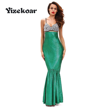 Yizekoar 2017 New Sexy Adult Fancy Deluxe Under The Sea Mermaid Halloween Costume Sexy Fantasy Patty Dress DL89022(China)