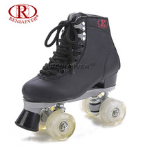 Buy RENIAEVER Roller Skates Double Line Skates Black Women Lady Adult White Led Lighting 4 Wheels Two line Skating Shoes Patines for $113.00 in AliExpress store