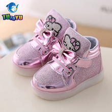 TUTUYU New Cheapest Spring Autumn Winter Children's Sneakers Kids Shoes Chaussure Enfant Hello Kitty Girls Shoes With LED Light