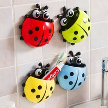 Lovely Ladybug Toothbrushes Wall Suction Bathroom Sets Cartoon Sucker Toothbrush Holder LXY9 DE17(China)