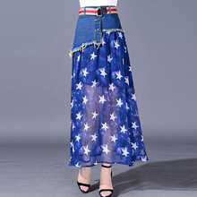 Summer Spring Fashion Womens Ladies Denim Chiffon Patchwork Stars Pattern Long Skirt , Casual Female Woman Tassel Stylish Skirts