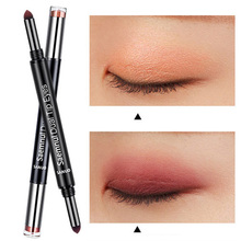 2pcs Double-headed Air Cushion Eyeshadow Pen 0801 Red Wine Color Earth Color Eye Shadow Stick Makeup Palette Cosmetics(China)