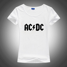 European ACDC Music Slim Style Sublimation Print White Tshirt Women T shirt Harajuku T-shirt Tee Shirts Gothic Anime Rock Punk(China)