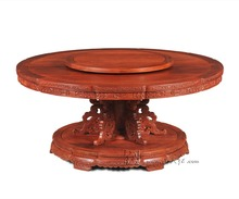 Round Table with Turntable 1.8M Rosewood Dining Furniture Solid Wood Annatto Board Redwood Living Office classical antique desk