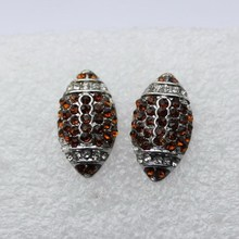 Clear with Brown Crystal Rhinestone Football Stud Earrings For Sports Jewelry Lover Foot Ball Club(China)