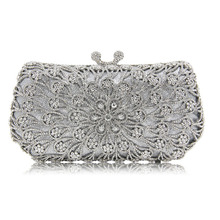 New Women gold Crystal Diamonds dinner day Clutches Luxury Evening Bag for Party Wedding clutch wallet Purse grey Clutches Bag(China)