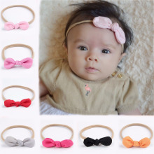 Cute Nylon Headband Solid Cotton Knot Hair Bows Kids headband Nylon Headbands Soft Headband For Girl
