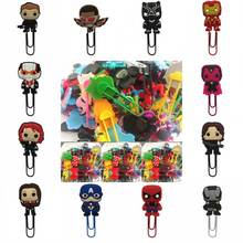 100pcs Super Hero Marvel's The Avengers bookmark holder paper clip Book marks Office Supplies Stationery kids party favor gifts(China)