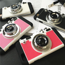Newest Korean Style Cool 3D Vintage Camera Neck Strap Phone Cases For 6 6s 7 7Plus Case Soft Silicone With Mirror Back Cover