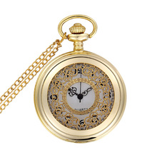 2017 Luxury Gold Hollow Pocket watch Vintage Pendant Watch Necklace Chain Antique Skleton Watches