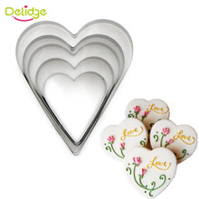 Delidge 5pcs/set Heart Shape Cookie Cutter Cake Decorating Tools Fondant Sugarcraft Candy Cupcake Biscuit Baking Mould(China)