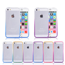 Transparent Gradient Color Design TPU Silicon Phone Cases For iPhone 5 5s SE Cover 4.0 inch Soft Phone Accessories Coque Capa
