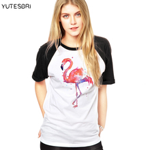 Buy Pink Flamingo cotton T Shirt Summer raglan Fashion Women Clothing Hipster t-shirts Women Top Punk Harajuku Tee Shirt Femme blusa for $10.43 in AliExpress store