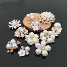 DIY Round flatback metal flower Pearl Rhinestone button for wedding embellishment headband decoration