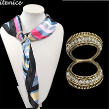 Stewardess Scarf Buckle Brooch Classic Decoration Luxurious Korean New Fashion Snout Crystal Jewelry for Women