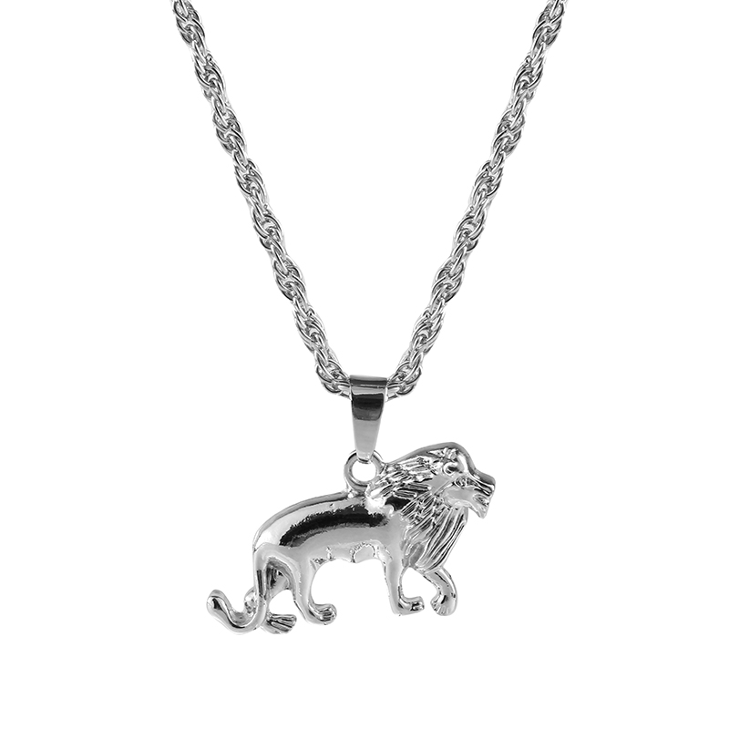 1Pcs Fashion Men Silver Plated Lion Charm Pendant Necklace Jewelry Gift