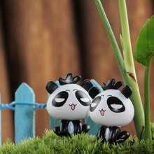 New arrival 1PC mini panda fairy garden miniatures gnomes moss terrariums resin crafts figurines for home decoration accessories