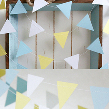 Baby shower Suppliers Ice cream color Triangle Paper Garlands For wedding Church chain Hanging Banner Living room Backdrops Blue