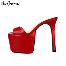 Sorbern Fashion Slippers Ladies Extrem High Strappy High Heel Sandal 11 Size Shoes For Women Platform Shoes Big Size 40-48(China)