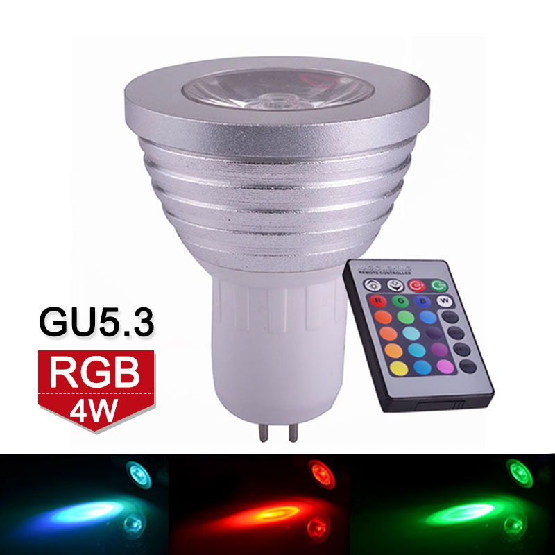 4W GU5.3 RGB LED Bulb Spotlight 16 Colors Change LED Lamp Spot Light 110V 220V With IR Remote For Home Party Decoration<br><br>Aliexpress