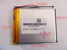 best battery brand 3.7V lithium polymer battery 458097 handheld computer tablet computer game machine 4000MAH PSP(China)