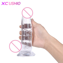 Buy Crystal Jelly Dildo Male Artificial Huge Realistic Penis Suction Cup Dildo Anal Plug Sex Toys Woman Masturbator Sex Products
