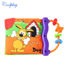 1 Pcs Baby Cloth Book Rattles Teether Toys Cute Donkey Animal Themed Early Educational Learning Toys for Infant 0-12-36 months(China)