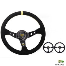 AUTOFAB - 14 inch // 350mm BLUE/YELLOW/RED Car Auto Racing Steering Wheel Suede Leather AF-FXP02OM-FS(China)