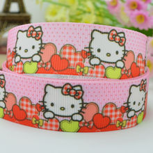 "DUWES 7/8"" 22mm 50yards Red Hello Kitty Printed grosgrain ribbon,hairbow DIY handmade clothing materials wholesale OEM(China)"
