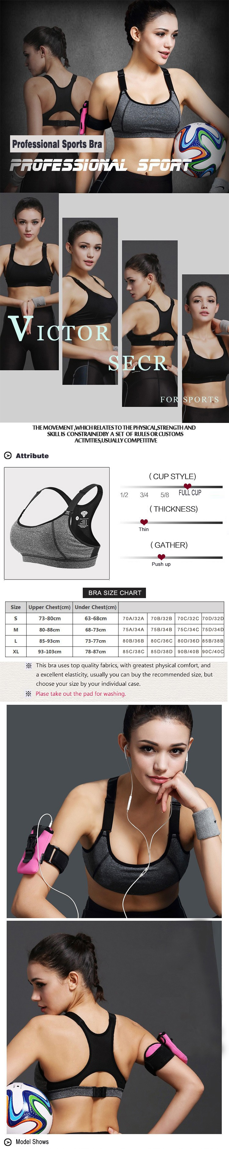 Codysale Sexy Bras Women Fitness Shakeproof Seamless Push Up Padded Bras Workout Quick-Dry Plus Size Underwear Sleeveless Tops 3