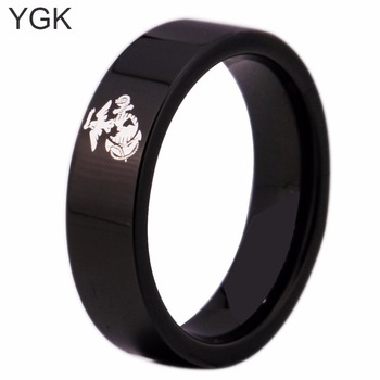 YGK Brand 6MM Black Pipe Army Ring USMC Design Men's Tungsten Comfort Fit Ring