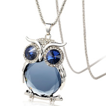 Crystals From Swarovski Owl Necklace Animal Pendant Women Vintage Long Chain Blue Necklace For Women Fashion Jewelry(China)