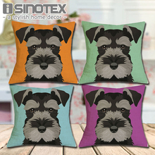 Cushion Cover Christmas Festival Schnauzer 45X45cm Dog Pillow Cases Pillowcase Bedroom Sofa Decoration